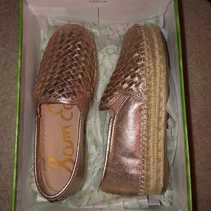 Sam Edelman Gold slip on Espadrille sandals